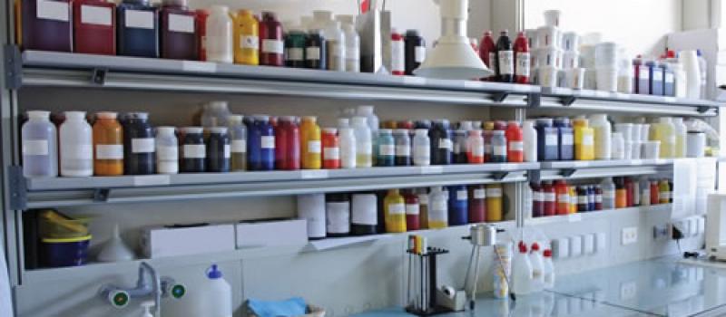 Bottles of industrial printing inks